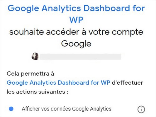 Autoriser le plugin Google Analytics Dashboard for WP