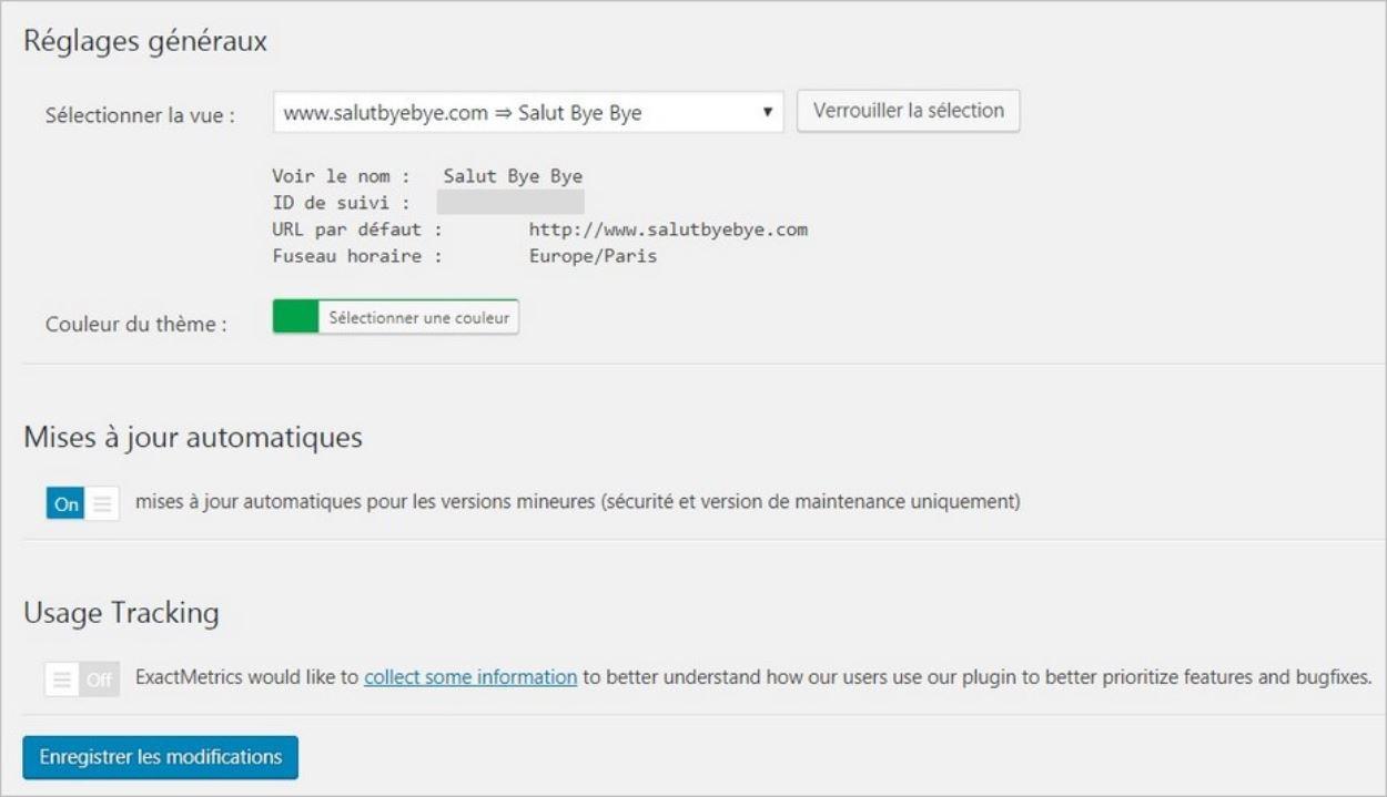 Réglages généraux du plugin Google Analytics Dashboard for WP