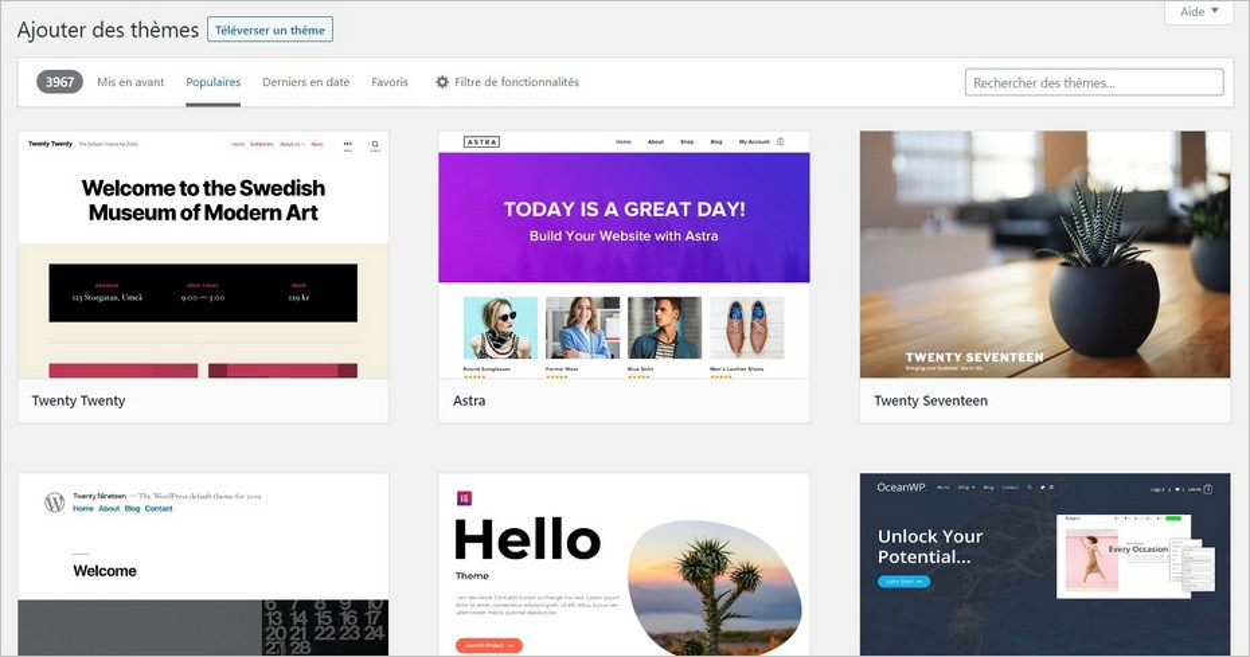 Le répertoire de thèmes WordPress
