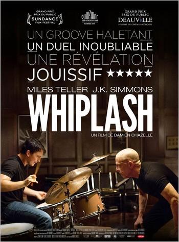Une affiche du film Whiplash avec des critiques