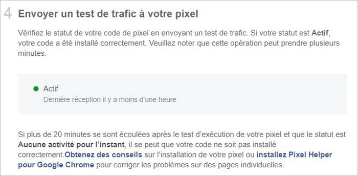 Test du pixel Facebook