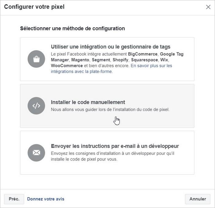 Configuration du pixel Facebook