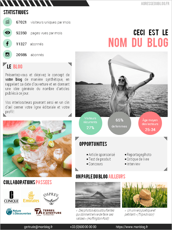 Modèle de média kit gratuit pour blogueur