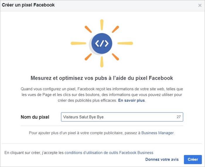 Choisir le nom du pixel Facebook