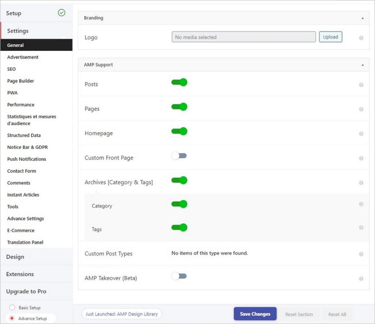 Options générales du plugin AMP for WP