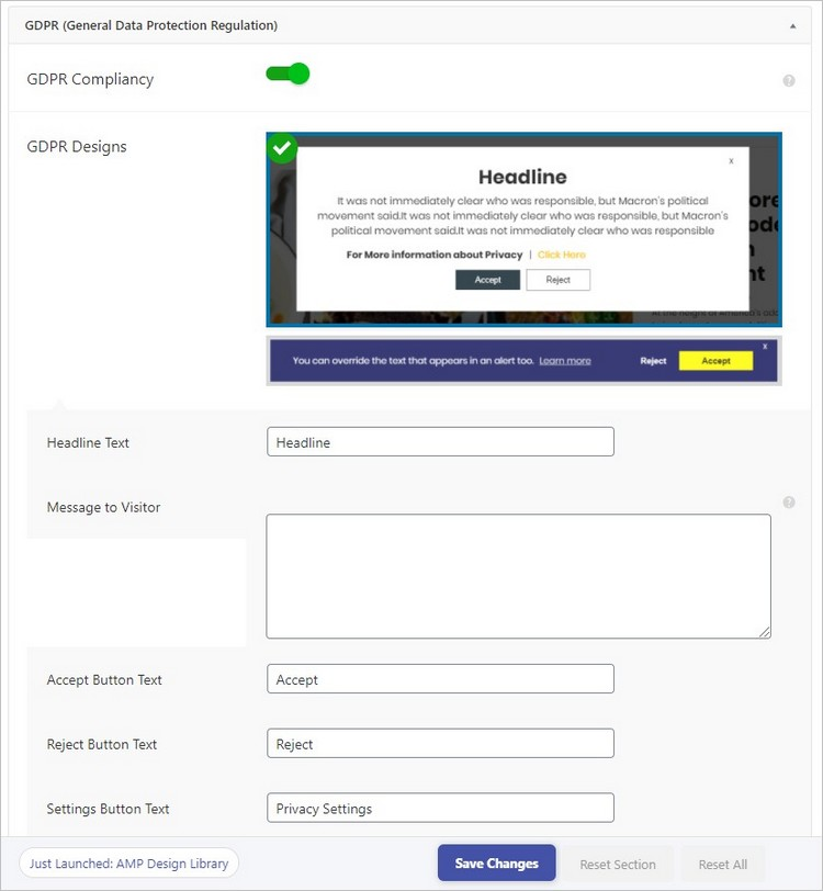 Options RGPD sur AMP pour WordPress