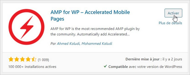 Installation du plugin AMP for WP