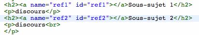 L'ancre dans le code source