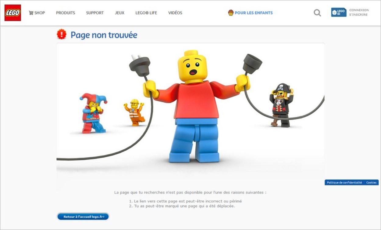 Exemple de page 404 sur le site de Lego