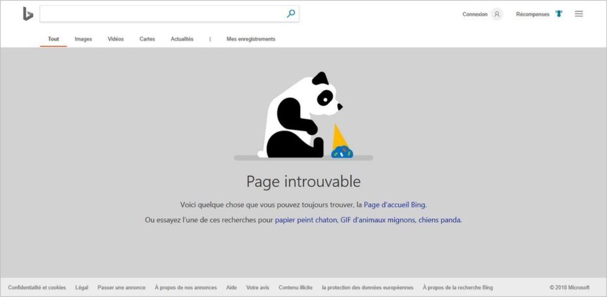 Page 404 de Bing
