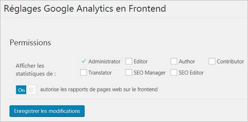 Réglages frontend du plugin Google Analytics Dashboard for WP