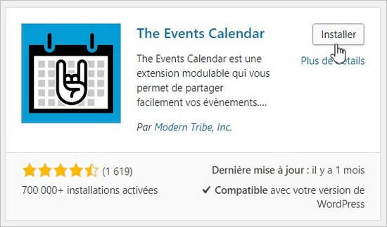 The Events Calendar, un calendrier d'événements pour WordPress