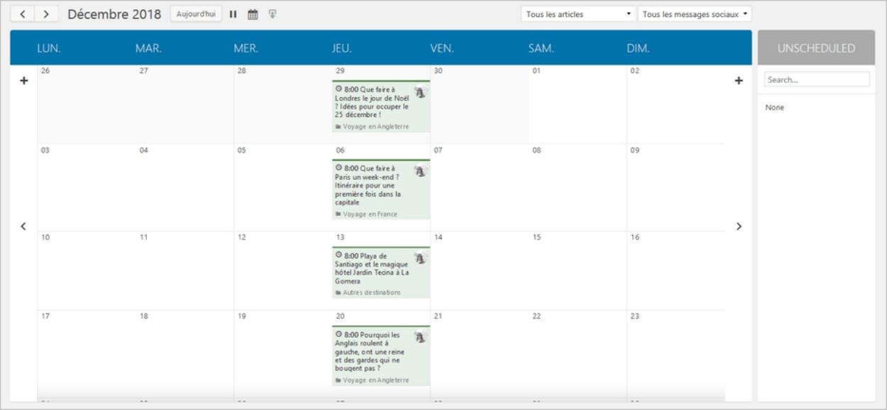 Le calendrier de Nelio Content