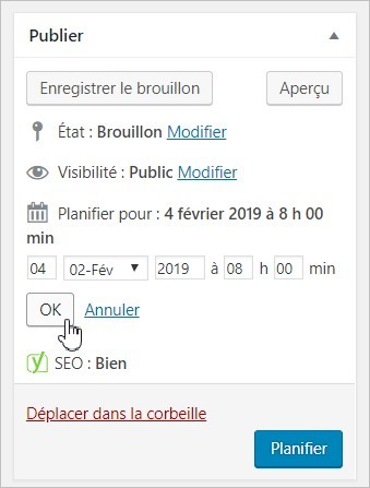 Planifier un article sur WordPress