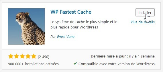 Installation de WP Fastest Cache