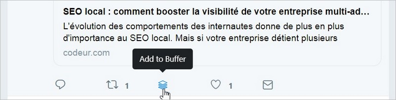 Bouton de retweet ajouté par Buffer