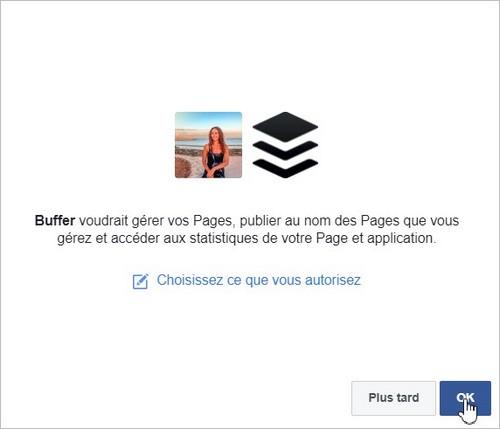 Autoriser Buffer à poster sur Facebook