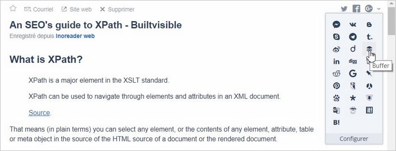 Intégration de Buffer avec le lecteur de flux RSS Inoreader