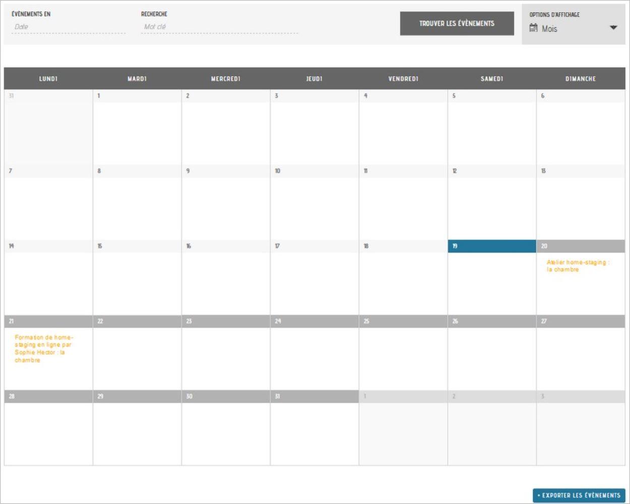 Le calendrier d'événements sur WordPress
