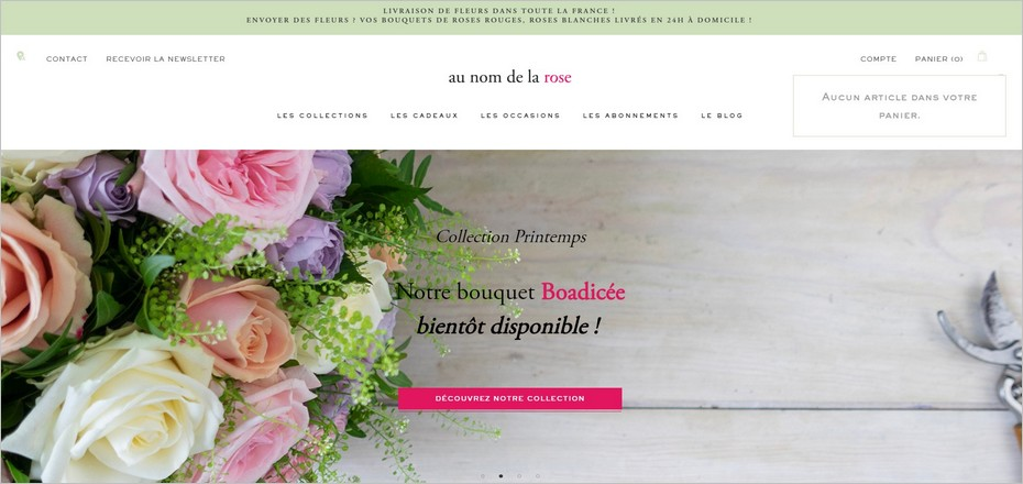 Au nom de la rose : un call-to-action bien visible