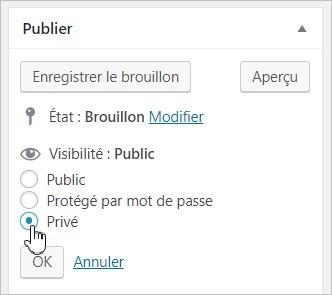 Mettre un article en privé sur WordPress