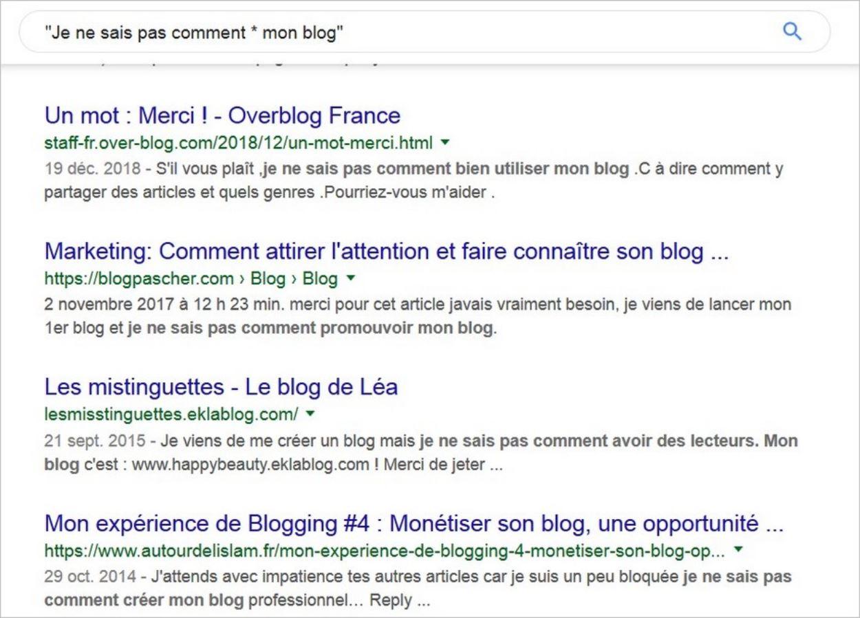 Recherche Google avec astérisque