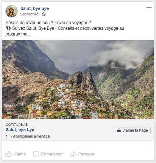 Exemple de publicité sur Facebook