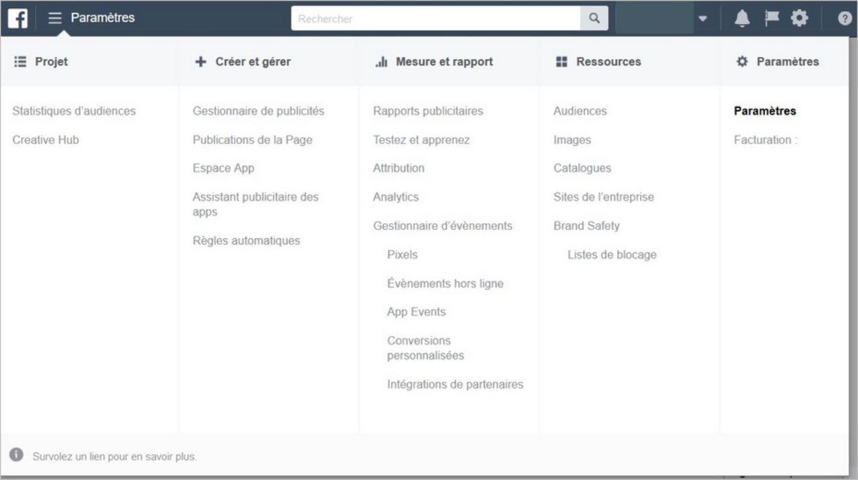 Gestionnaire de Publicités et menu Paramètres ouvert