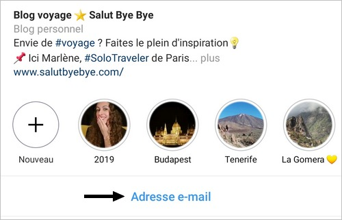 Un call-to-action de contact sur Instagram