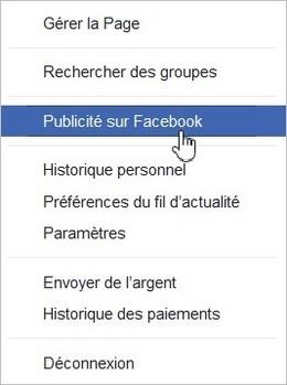 Menu publicité sur Facebook