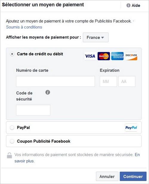 Moyens de paiement sur Facebook
