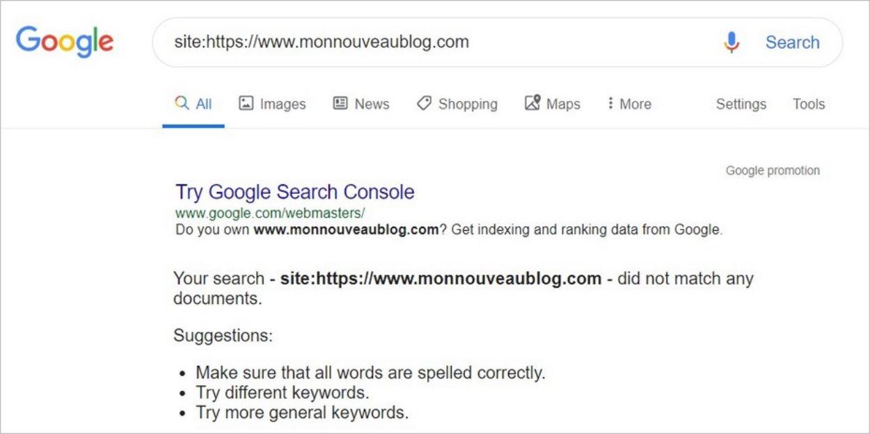 Blog introuvable sur Google