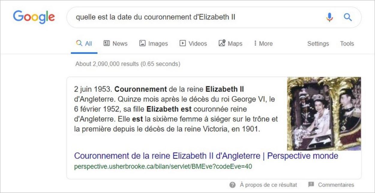 Exemple de position 0 sur Google