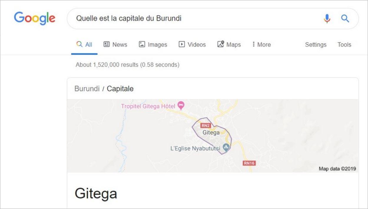 Réponse directe sur Google