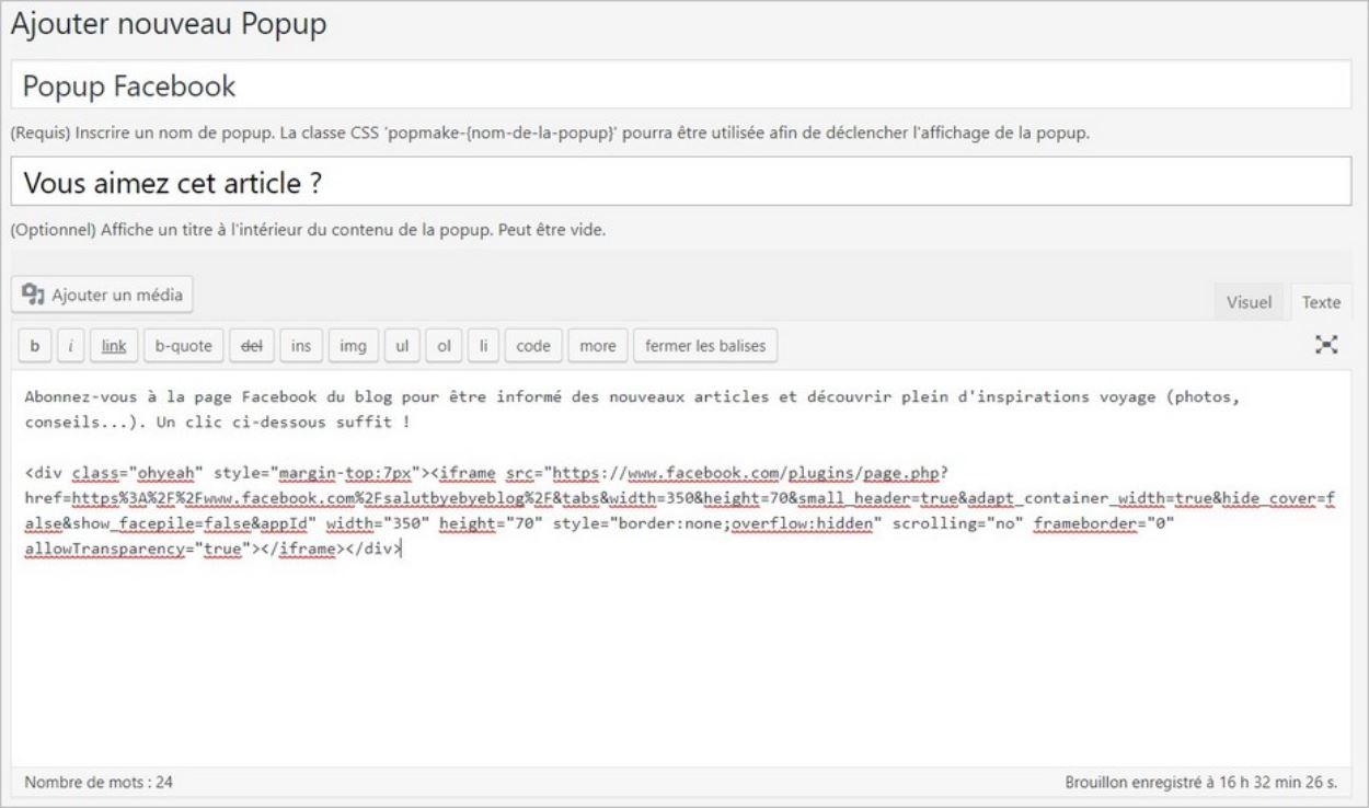 Créer une popup sur WordPress