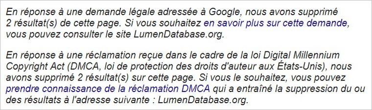 Informations sur le DMCA dans les résultats Google