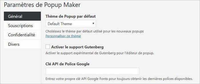 Options générales sur Popup Maker