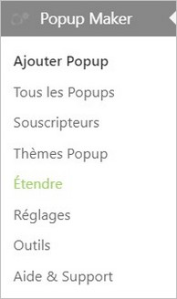 Menu Popup Maker sur WordPress