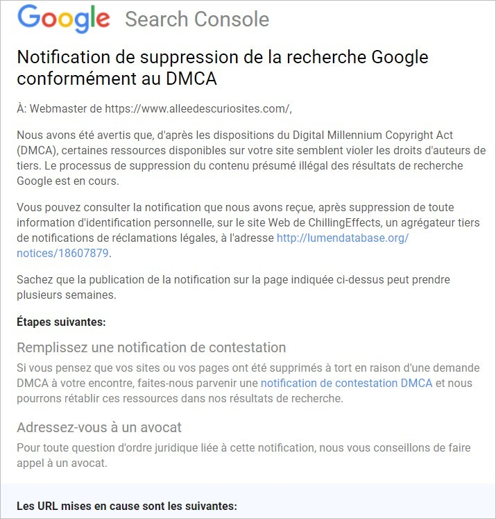 Notification de suppression de la recherche Google conformément au DMCA