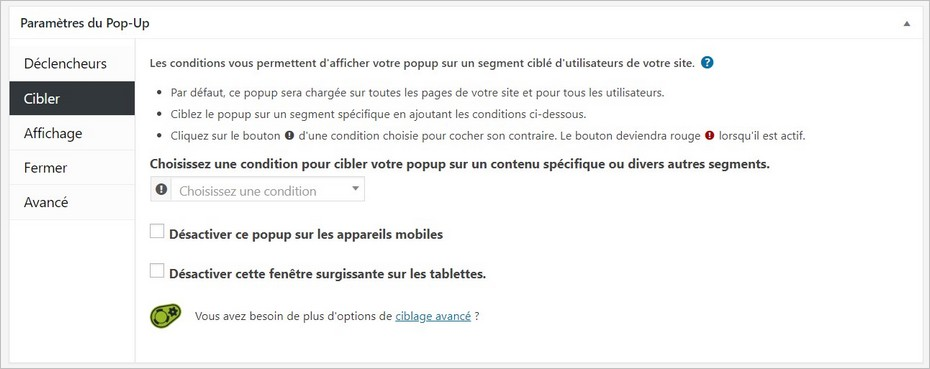 Options de ciblage de la popup