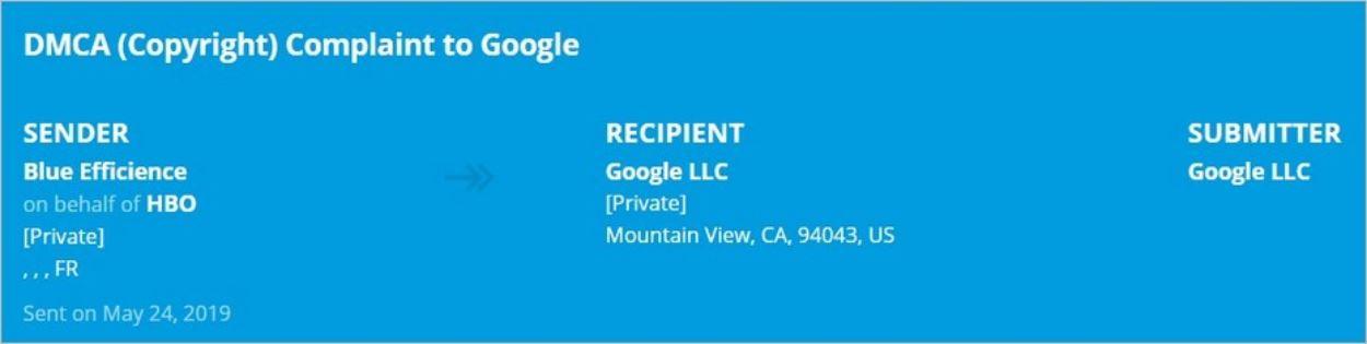 Plainte DMCA Google sur Lumen