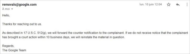 Réception du formulaire de contestation par Google