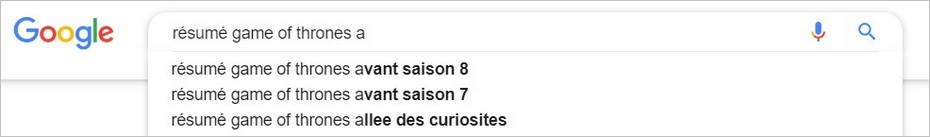 Google Suggest et les résumés de Game Of Thrones
