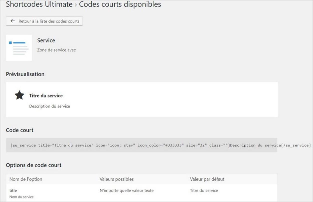 Détail d'un shortcode sur WordPress