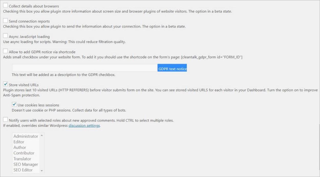 Options avancées sur le plugin antispam CleanTalk