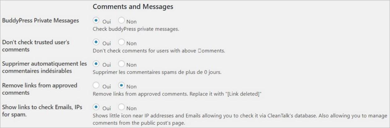 Anti spam - Options pour filtrer les commentaires indésirables