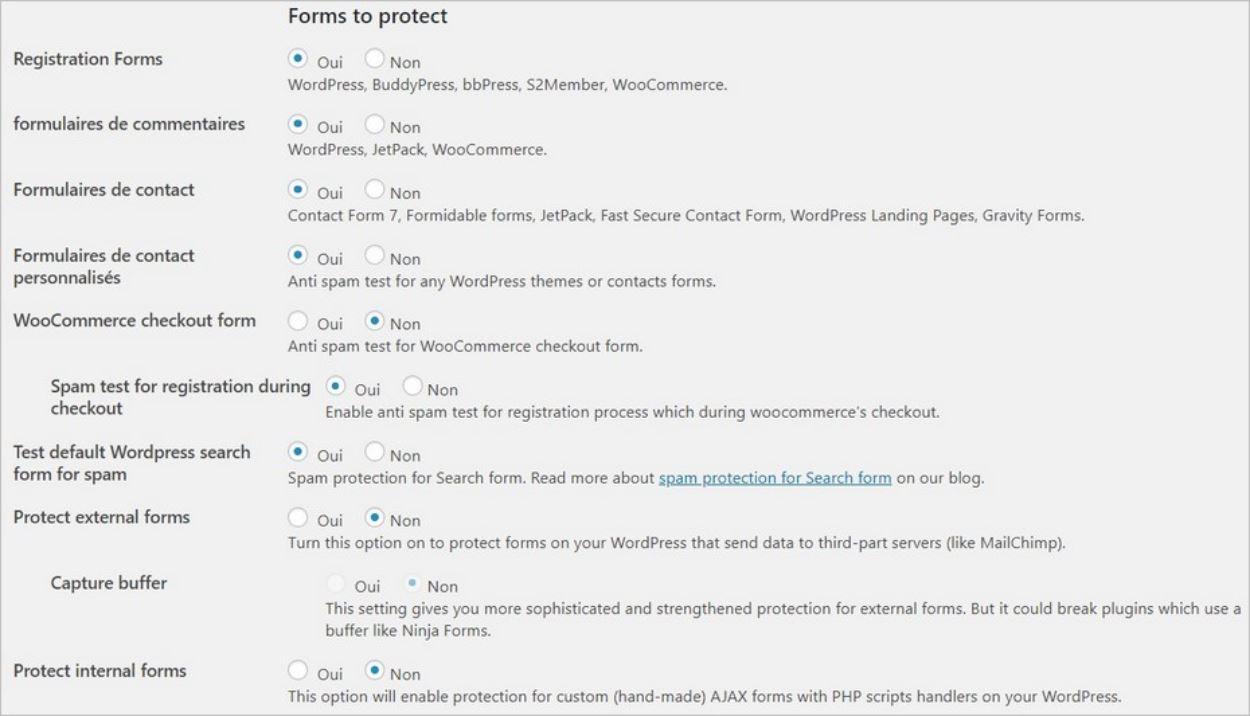 Options de l'anti spam CleanTalk pour les formulaires
