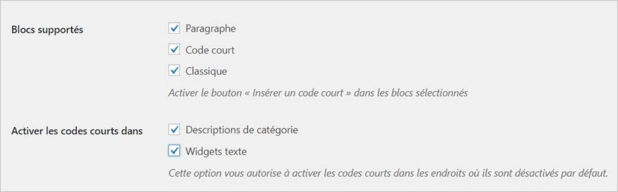 Réglages du plugin Shortcodes Ultimate