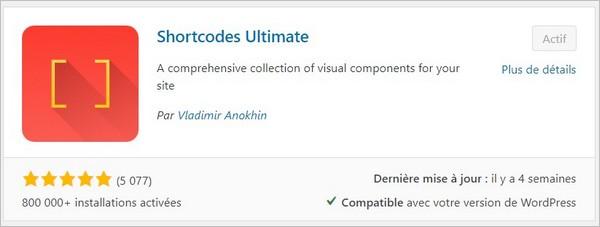 Plugin de mise en forme pour WordPress : Shortcodes Ultimate