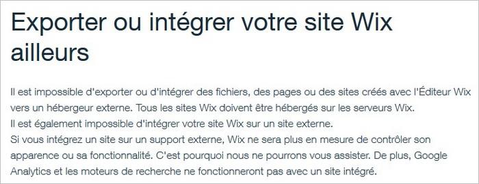 Exporter un site Wix